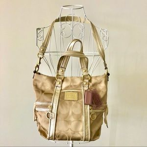 Authentic Coach Poppy Signature Bag - Gold Khaki